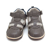 Child grey summer shoes Royalty Free Stock Photos