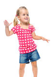 Child groove dance. Dancing young girl isolated on white in studio Stock Photography