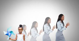Child growing into grown up woman Royalty Free Stock Images