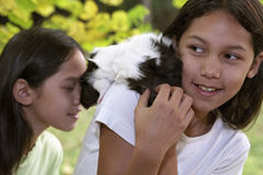 Child with guinea pigs Royalty Free Stock Photos