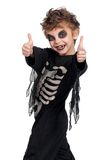 Child in halloween costume. Portrait of little boy wearing halloween costume on white background Royalty Free Stock Photos