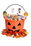 Child Halloween Pumpkin Bucket With Candy And Fall Stock Photography