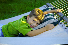 Child on a Hammock stock image