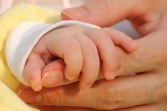 Child hand. The child and mother hands Stock Images
