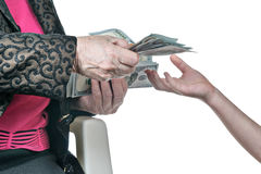 Child hand asking money from her grandmother Stock Images