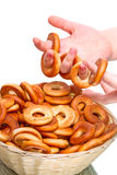 Child hand with  bagels Royalty Free Stock Photo