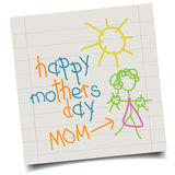 Child hand-drawn Mothers Day card Stock Image