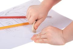 Child Hand with eraser royalty free stock photo