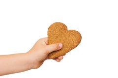 Child hand holding gingerbread stock photo