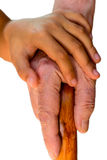 Child hand holding an old womens hand with the cain. Seven year old girl holding her Grandmothers hand Royalty Free Stock Image