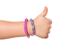 Child Hand with Loom strap Stock Photo