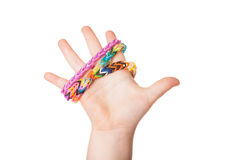 Child Hand with Loom strap Stock Image