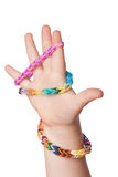 Child Hand with Loom strap Royalty Free Stock Photography