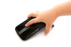 Child hand with Mouse. Child hand mouse information technology click online drag computer royalty free stock images
