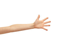 Child hand over white background. Body part, childhood and people concept - child hand over white background Stock Photo