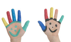Child with hand painting Royalty Free Stock Photography
