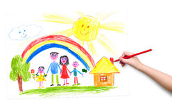 Child hand with pencil draw a picture Royalty Free Stock Photography