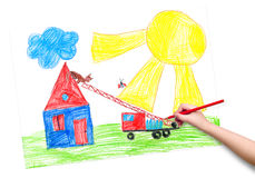 Child hand with pencil draw a picture Royalty Free Stock Photos