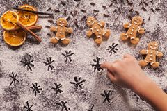 Child hand playing and drawing stars in flour Royalty Free Stock Photography