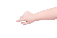 Child hand pointing over white Stock Photography