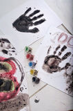 Child hand print in paper Stock Photos