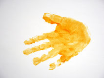 Child hand print on white paper background.  Royalty Free Stock Image