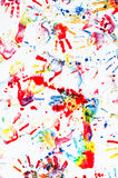 Child hand prints. With color paintings royalty free stock photos