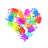 Child hand prints in heart form Royalty Free Stock Photo