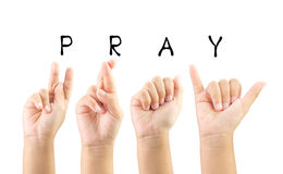 Child hand sign language alphabet for pray with clipping path.  Stock Photo