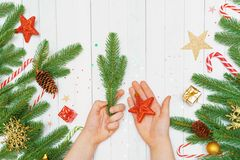 Child hand with toy star and fir tree branch royalty free stock images