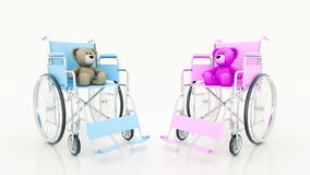 Child handicap concept: brown teddy bear in wheelchair. Design made in 3D Royalty Free Stock Photos