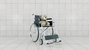 Child handicap concept: brown teddy bear in wheelchair. Design made in 3D Royalty Free Stock Image