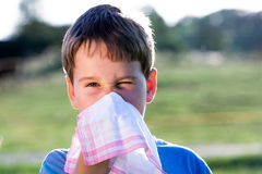 Child with handkerchief in nature royalty free stock photos