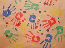 Child handprint. Stock Photos