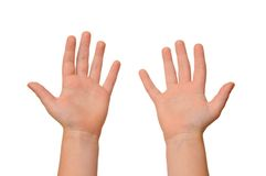 Child hands. Hands of the child isolated on the white background Stock Photo