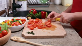 Child hands chopping up cherry tomatoes for a vegetable salad stock video