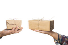Child hands with Christmas gifts Royalty Free Stock Photo