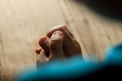 Child hands folded for prayer Royalty Free Stock Photos
