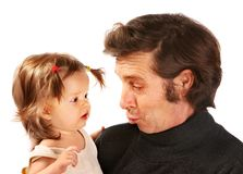 Child on hands at grandfather. Royalty Free Stock Photography