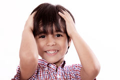 Child with hands on head Royalty Free Stock Photos