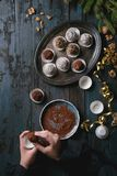 Christmas chocolate truffles stock photos