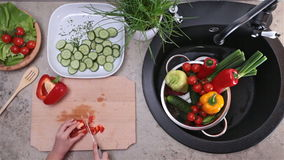 Child hands slicing and chopping a red bellpepper stock video