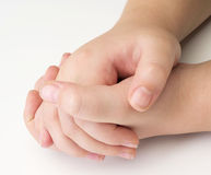Child hands on white royalty free stock photos
