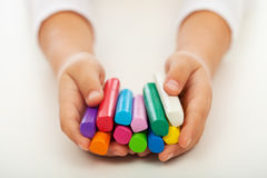 Child Hands With Colorful Clay Bars Royalty Free Stock Image
