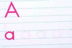 Child handwriting practice book Stock Photography