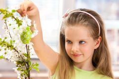 Child hang easter egg on cherry branch. Royalty Free Stock Photography