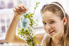 Child hang easter egg on cherry branch. Stock Image