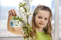 Child hang easter egg on cherry branch Royalty Free Stock Photography