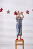 Child hangs the stars Stock Images