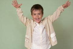 Child happy. Portret of a young boy stock photography